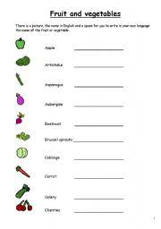 english worksheets fruit and vegetables in english 3 pages