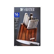 sabatier kitchen knives amazon com sabatier 16 piece acacia block cutlery set stainless