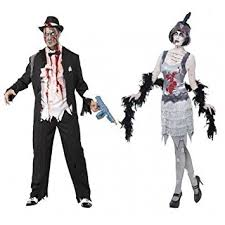 Mens Gangster Halloween Costume Couples Mens U0026 Ladies Fancy Dress Zombie Gangster Flapper Moll