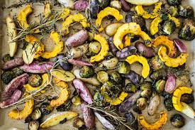 winter roasted vegetables with lemon extra virgin olive oil