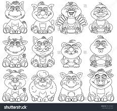 coloring pages children contour farm animals stock vector