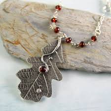 leaf pendant necklace images Sycamoon garnet necklace with oak leaf pendant jpeg