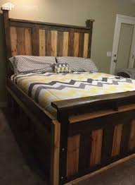 Bed Frame Made From Pallets Two Toned Pallet King Size Bed Frame 1001 Pallets