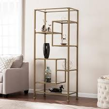 etagere metal dina metal glass asymmetrical 繪tag罟re bookcase matte khaki
