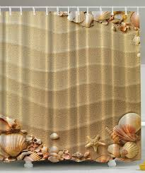 sandy beach with seashells shower curtain beachfront decor sandy