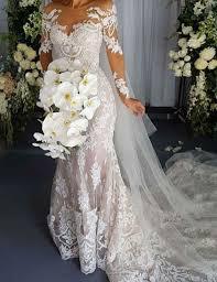 cheap bridal dresses vintage mermaid scoop sleeves lace appliques corset back