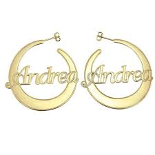 name earrings 10k gold flattened hoop name earrings be monogrammed