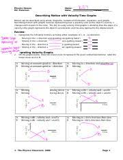 describing motion position vs time graphs answers physics