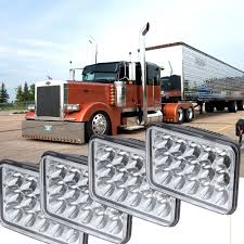 4pcs led headlights bulb high low sealed beam 4500lm fit peterbilt