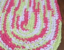 Crochet Oval Rag Rug Pattern Green Rag Rug Etsy