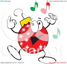 cartoon of a christmas ornament character dancing royalty free