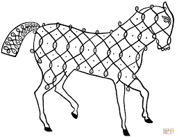 indian horse design coloring page free printable coloring pages