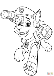 chase with police pup pack coloring page free printable coloring