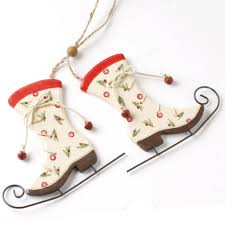 vintage style wooden ice skate christmas tree decoration red and