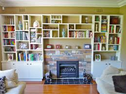 admirable built in custom bookshelf around fireplace with two
