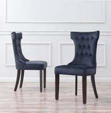 Elegant Modern Parsons Chair Leather Set Of 2 Elegant Tufted Fabric Armless Side Chairs Modern Black