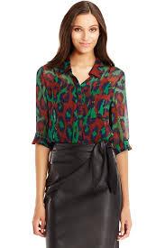 dvf blouse dvf lorelei two chiffon blouse in leopard medium green