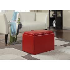 ottoman with storage and tray coffee table faux leather square