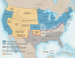 Usa Map 1860 by Boundary Between The Union And The Confederacy National