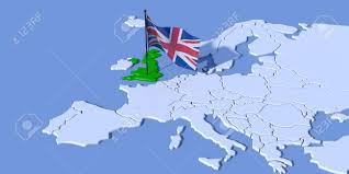 Map Of World Uk by 3d Map Of Europe With Uk Flag Stock Photo Picture And Royalty