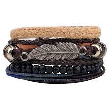 bracelet cuff leather images Er vintage tribal bohemian feather bracelet boho silver alloy leaf jpg
