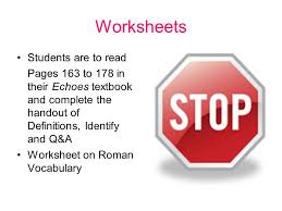 worksheets students are to read pages 163 to 178 in their echoes
