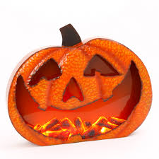light up jack o lantern light up metal jack o lantern pumpkin glowing moving fire flame
