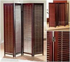 4 panel room divider wooden shutter folding freestanding screen