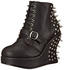 wide motorcycle shoes demonia bravo 10 gothic punk industrial wedge platform shoes 3 5