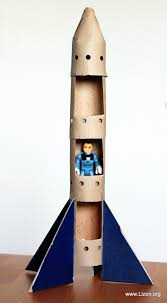 space rocket craft made from a paper towel roll my kids would