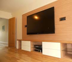 awesome media room designs with wall mount lcd hang on oak pattern