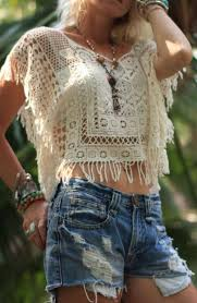 boho crochet a handmade crochet lace top with fringe