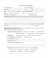 mental status exam template sample psychosocial assessment form 8 free documents in doc pdf