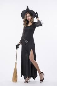 Witch Halloween Costumes F1796 Womens Black Witch Halloween Costume Devil U0026 Witch Flower
