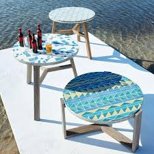 West Elm Outdoor by Mosaic Coffee Table Grey Spider Web Metal Base West Elm Au
