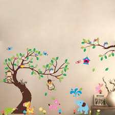 high class large monkey tree wall stickers decals cartoon jungle high class large monkey tree wall stickers decals cartoon jungle animals wallpaper mural kids home bedroom nursery decoration
