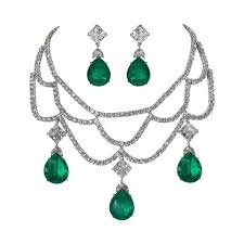 emerald earrings necklace images Magnificent faux diamond emerald necklace earring set at 1stdibs jpg