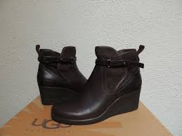 ugg australia womens emalie brown stout leather ankle boot 7 ebay ugg emalie brown wp leather sheepskin wedge ankle boots us 7