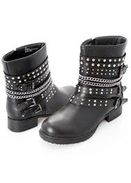 women s black motorcycle boots chainlink stud moto boot wide width women u0027s shoes ashley stewart
