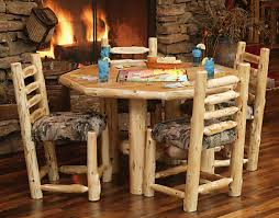 Wood Dining Room Tables And Chairs by Custom Log Dining Room Tables Diner With Upholstered Seat