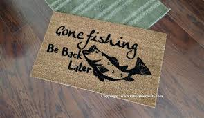 Welcome Doormats Gone Fishing Be Back Later Custom Handpainted Welcome Doormat By