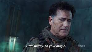 Magic Meme Gif - season 2 starz ash vs evil dead little buddy do your magic trending