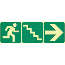 stairs going down left photoluminescent safety sign