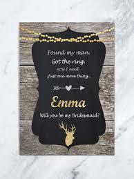 bridesmaid invitation card rustic personalized will you be my bridesmaid card bridesmaid