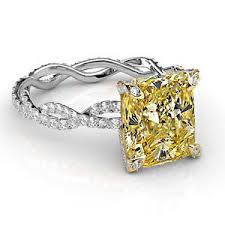 canary engagement rings 2 90 ct cushion cut twist shank canary engagement ring