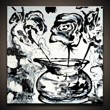 black and white painting ideas painting black and white flowers on small canvas youtube