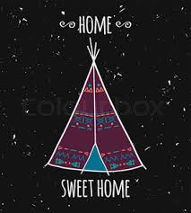 vector illustration of american indian tipi home with tribal