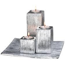 porta candele elegante set portacandele porta candele in porcellana argentata su