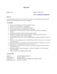 Testing Tools Resume Manual Testing Resume Sles 28 Images Sle Manual Testing Resume