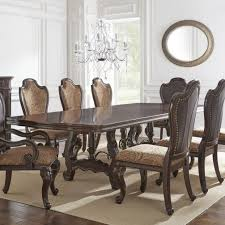 steve silver angelina double pedestal dining table with metal